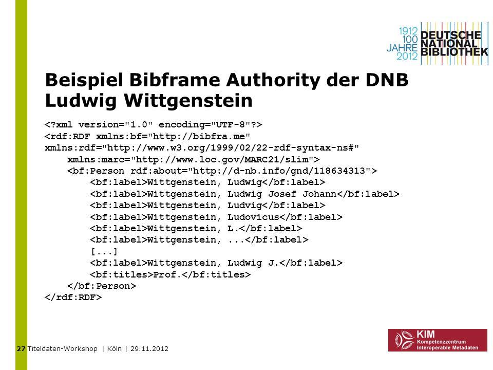 Titeldaten-Workshop | Köln | 29.11.2012 Beispiel Bibframe Authority der DNB Ludwig Wittgenstein <rdf:RDF xmlns:bf=