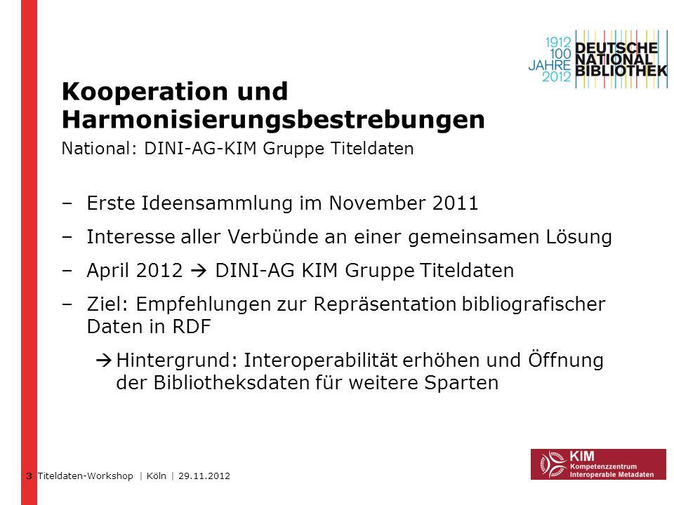 Titeldaten-Workshop | Köln | 29.11.2012 Kooperation und Harmonisierungsbestrebungen National: DINI-AG-KIM Gruppe Titeldaten –Erste Ideensammlung im No