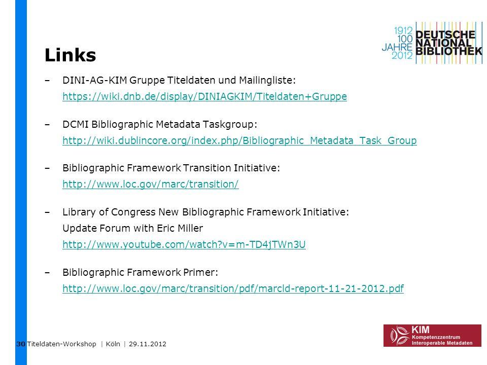 Links –DINI-AG-KIM Gruppe Titeldaten und Mailingliste: https://wiki.dnb.de/display/DINIAGKIM/Titeldaten+Gruppe https://wiki.dnb.de/display/DINIAGKIM/T