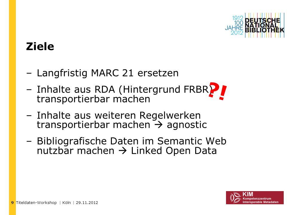 Titeldaten-Workshop | Köln | 29.11.2012 Ziele –Langfristig MARC 21 ersetzen –Inhalte aus RDA (Hintergrund FRBR) transportierbar machen –Inhalte aus we
