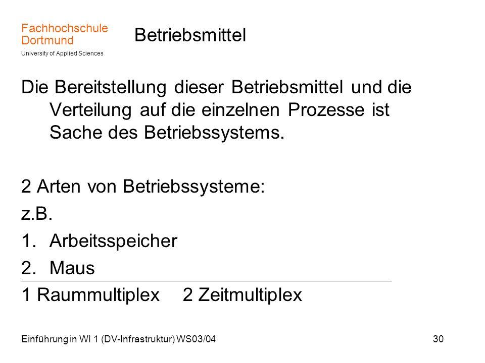 Fachhochschule Dortmund University of Applied Sciences Einführung in WI 1 (DV-Infrastruktur) WS03/0430 Betriebsmittel Die Bereitstellung dieser Betrie