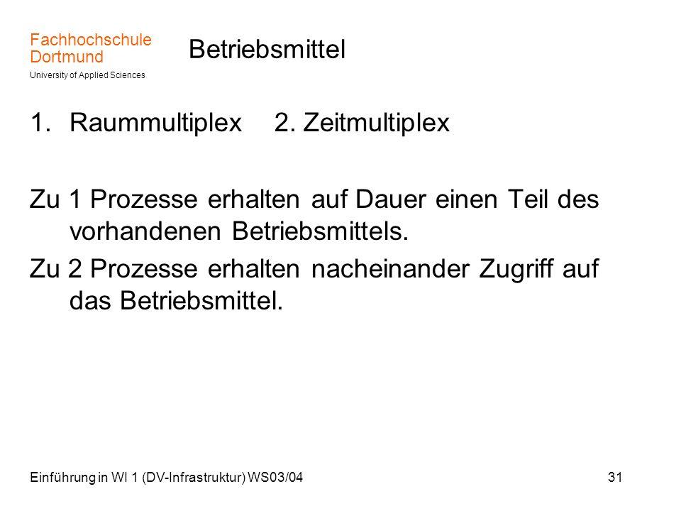Fachhochschule Dortmund University of Applied Sciences Einführung in WI 1 (DV-Infrastruktur) WS03/0431 Betriebsmittel 1.Raummultiplex 2. Zeitmultiplex