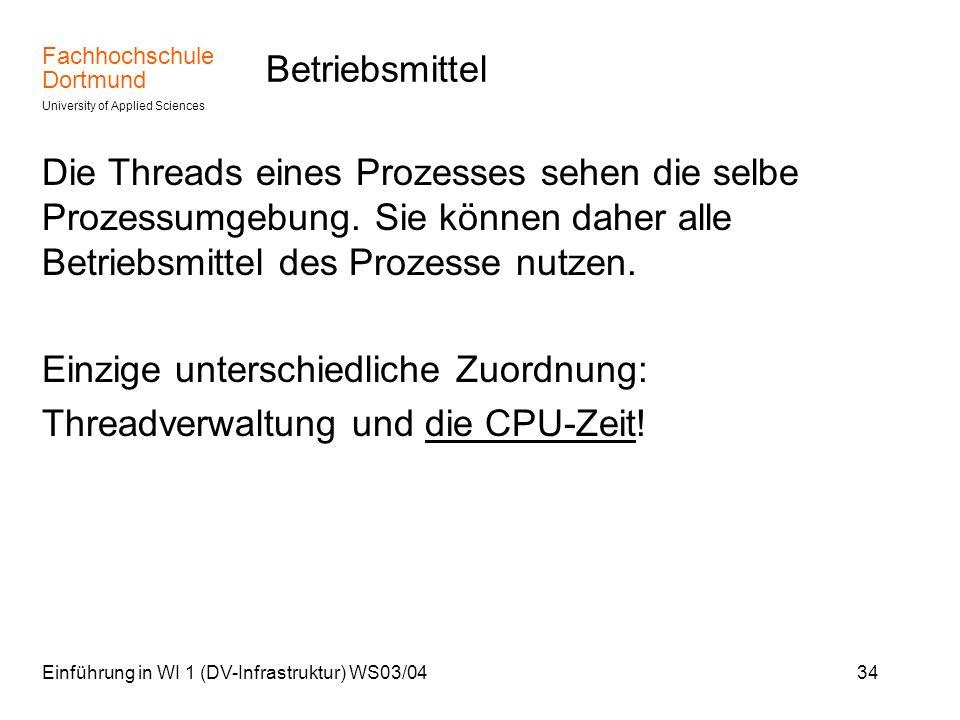 Fachhochschule Dortmund University of Applied Sciences Einführung in WI 1 (DV-Infrastruktur) WS03/0434 Betriebsmittel Die Threads eines Prozesses sehe
