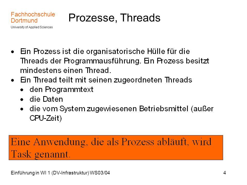 Fachhochschule Dortmund University of Applied Sciences Einführung in WI 1 (DV-Infrastruktur) WS03/0425 Scheduler Die Zuordnung zu Prioritätsklassen kann dynamisch erfolgen.