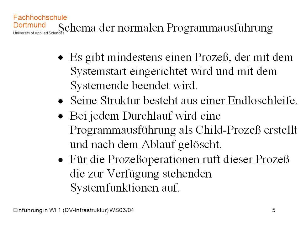 Fachhochschule Dortmund University of Applied Sciences Einführung in WI 1 (DV-Infrastruktur) WS03/0426 Scheduler Windows: Taskmanager, Karteikarte (Reiter) Prozesse Eine Zeile mit der rechten Maustaste anklicken, Priorität verändern wählen.
