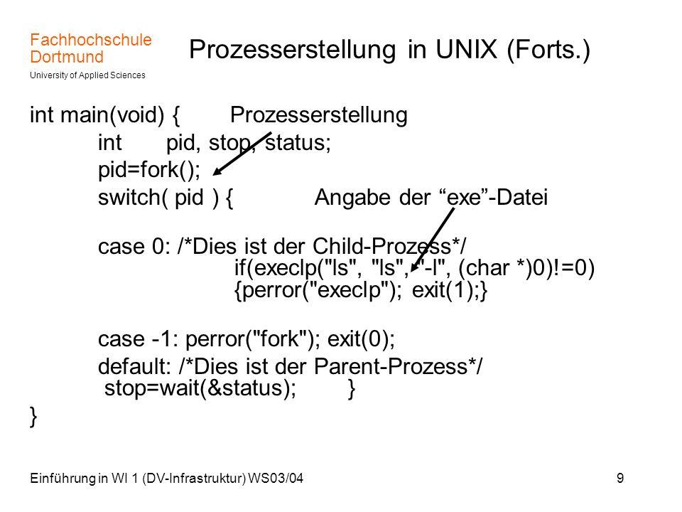 Fachhochschule Dortmund University of Applied Sciences Einführung in WI 1 (DV-Infrastruktur) WS03/0410 Threaderstellung in Windows Funktion WorkThreadDriver( ) wird als Thread aufgerufen.