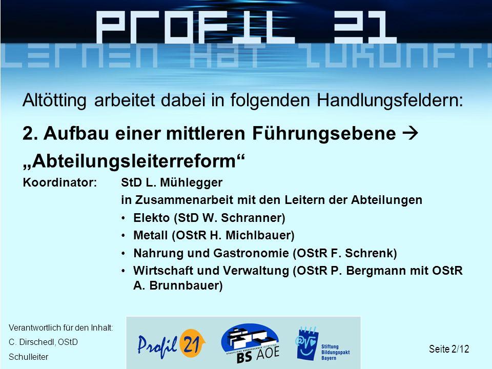 Seite 2/12 Verantwortlich für den Inhalt: C. Dirschedl, OStD Schulleiter Altötting arbeitet dabei in folgenden Handlungsfeldern: 2. Aufbau einer mittl