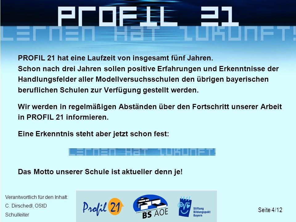 Seite 4/12 Verantwortlich für den Inhalt: C. Dirschedl, OStD Schulleiter PROFIL 21 hat eine Laufzeit von insgesamt fünf Jahren. Schon nach drei Jahren