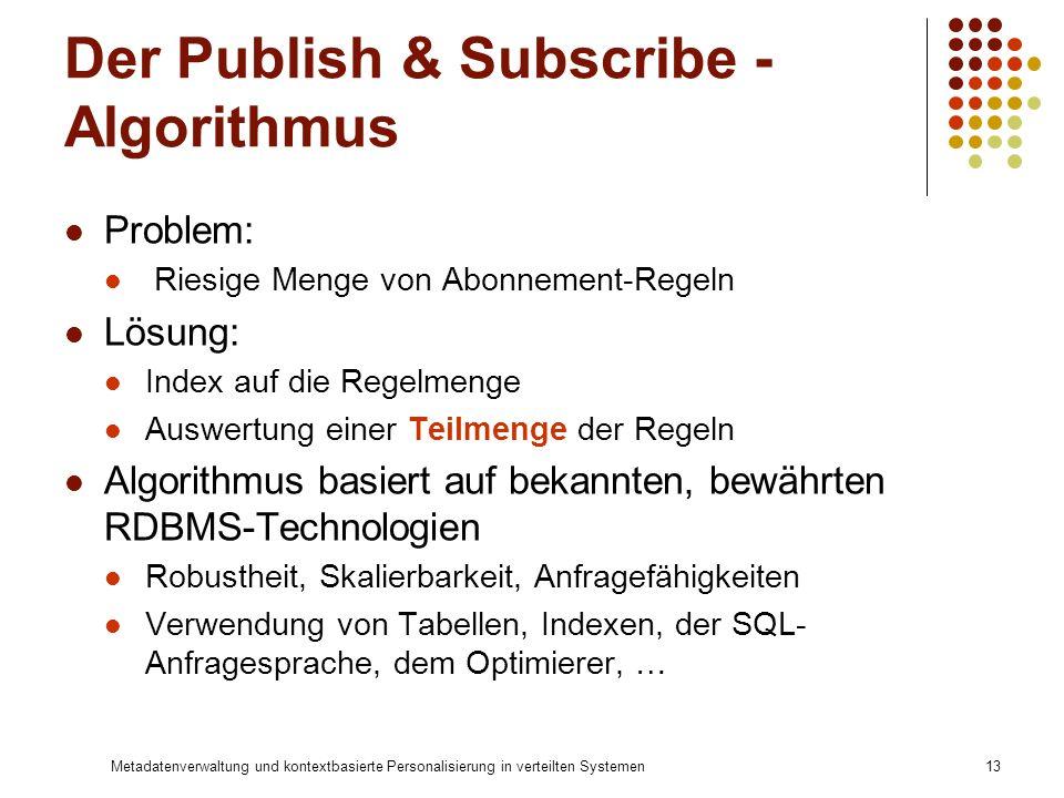 Metadatenverwaltung und kontextbasierte Personalisierung in verteilten Systemen13 Der Publish & Subscribe - Algorithmus Problem: Riesige Menge von Abo