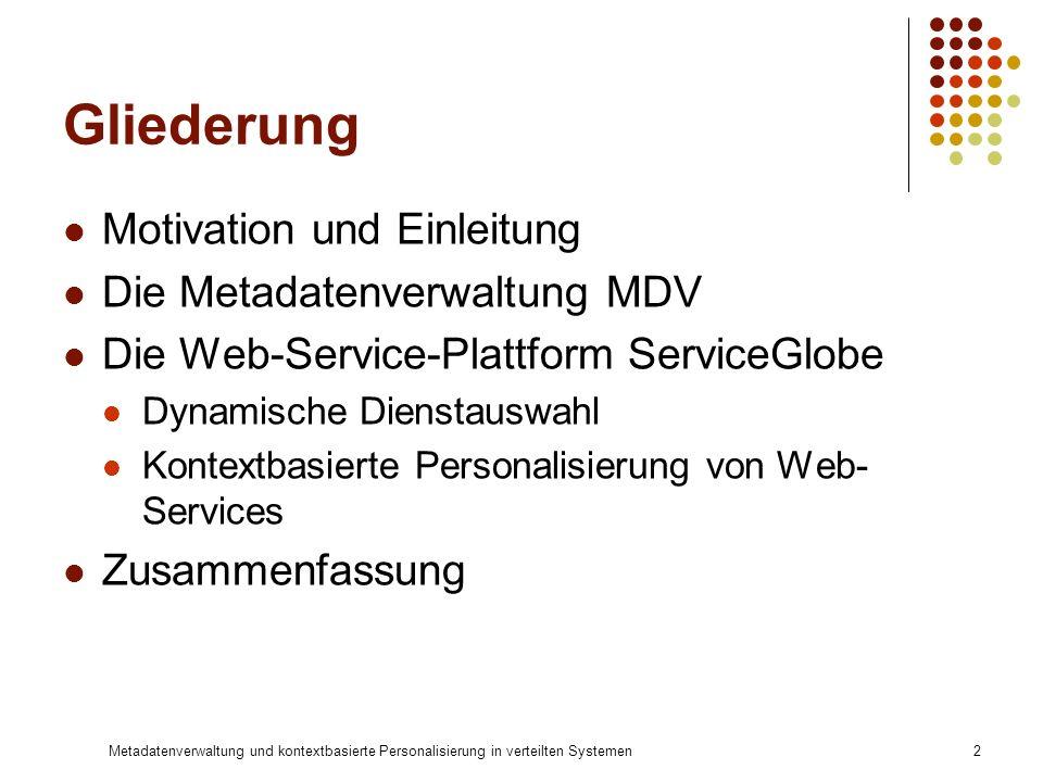 Metadatenverwaltung und kontextbasierte Personalisierung in verteilten Systemen2 Gliederung Motivation und Einleitung Die Metadatenverwaltung MDV Die
