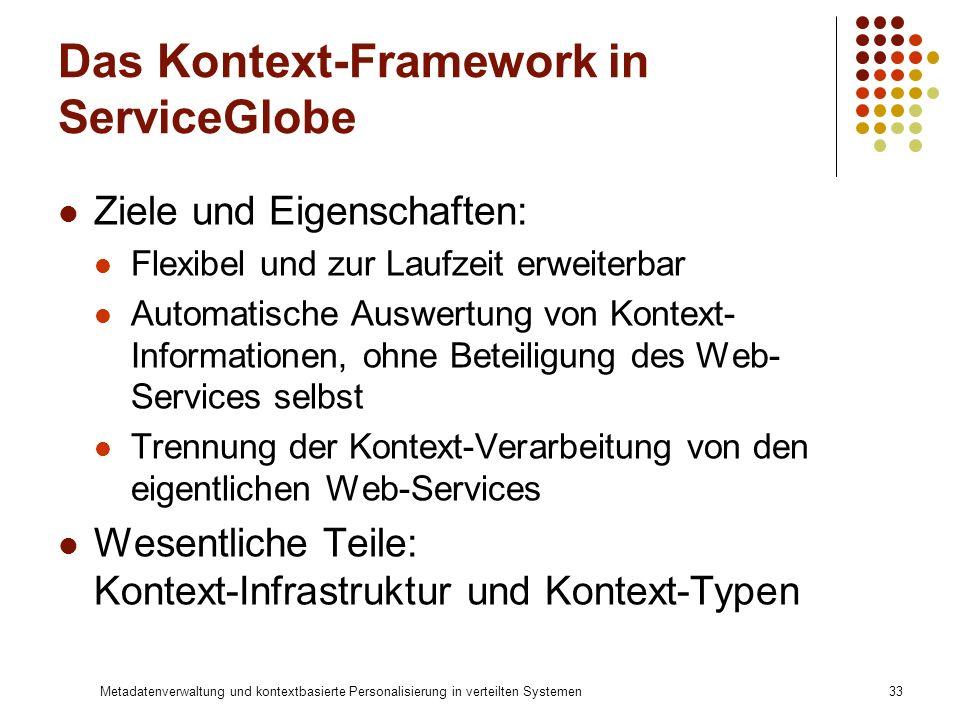 Metadatenverwaltung und kontextbasierte Personalisierung in verteilten Systemen33 Das Kontext-Framework in ServiceGlobe Ziele und Eigenschaften: Flexi