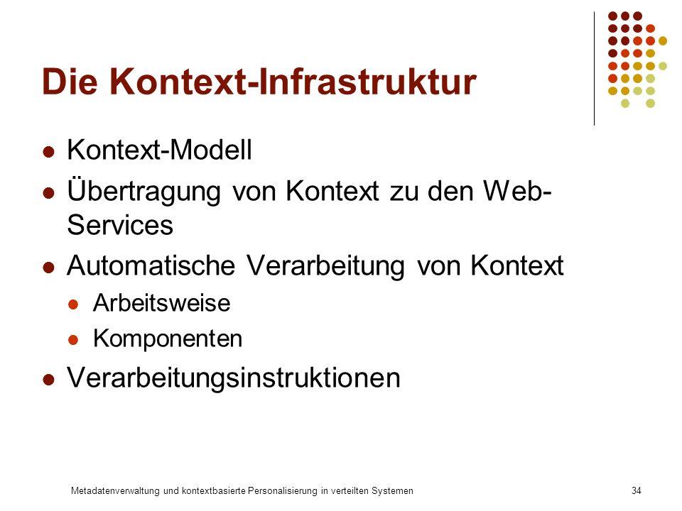 Metadatenverwaltung und kontextbasierte Personalisierung in verteilten Systemen34 Die Kontext-Infrastruktur Kontext-Modell Übertragung von Kontext zu