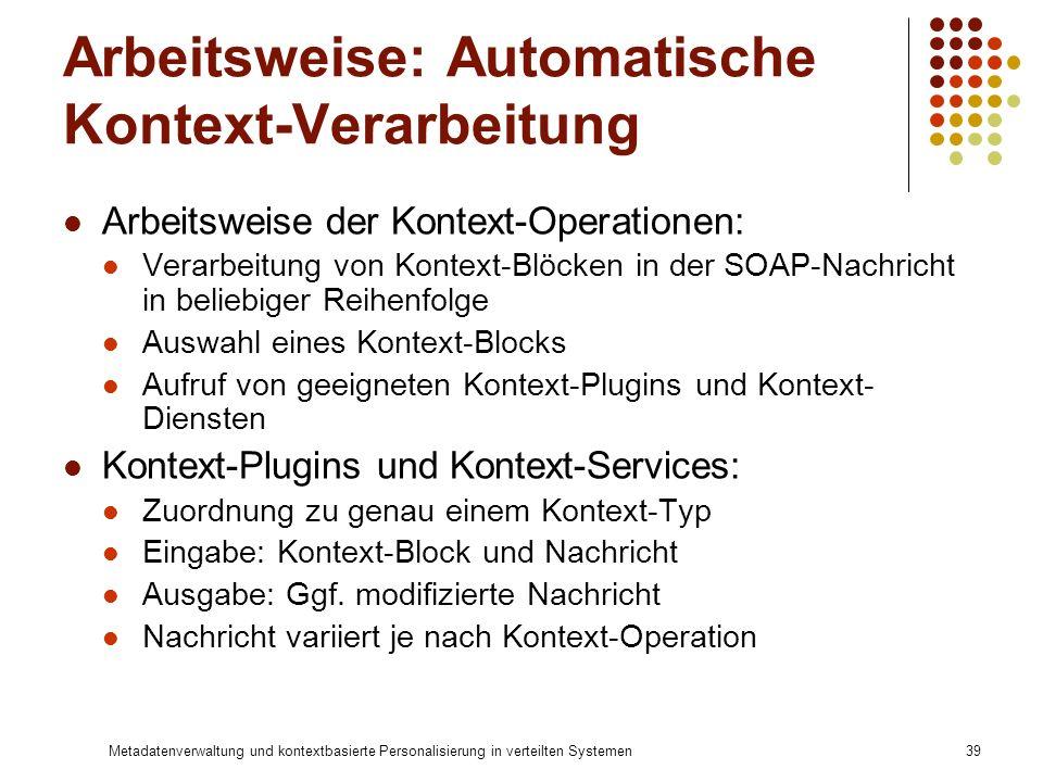 Metadatenverwaltung und kontextbasierte Personalisierung in verteilten Systemen39 Arbeitsweise: Automatische Kontext-Verarbeitung Arbeitsweise der Kon