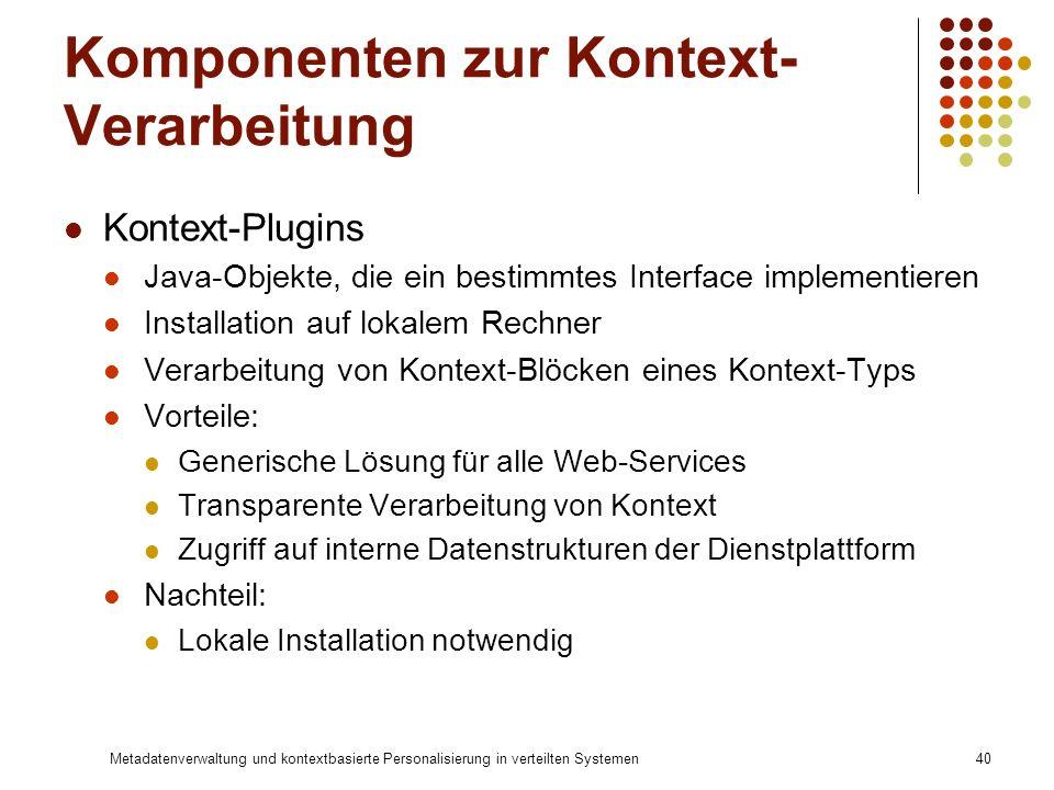Metadatenverwaltung und kontextbasierte Personalisierung in verteilten Systemen40 Komponenten zur Kontext- Verarbeitung Kontext-Plugins Java-Objekte,