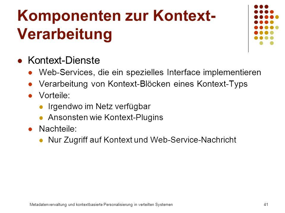 Metadatenverwaltung und kontextbasierte Personalisierung in verteilten Systemen41 Komponenten zur Kontext- Verarbeitung Kontext-Dienste Web-Services,