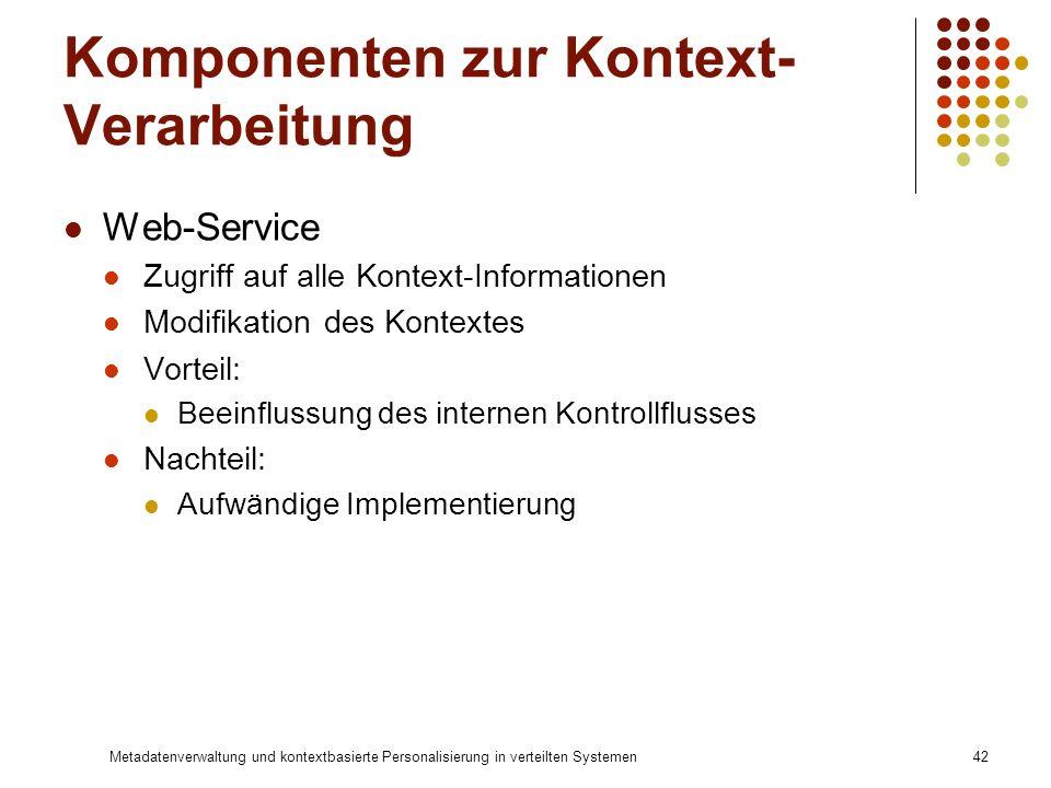 Metadatenverwaltung und kontextbasierte Personalisierung in verteilten Systemen42 Komponenten zur Kontext- Verarbeitung Web-Service Zugriff auf alle K