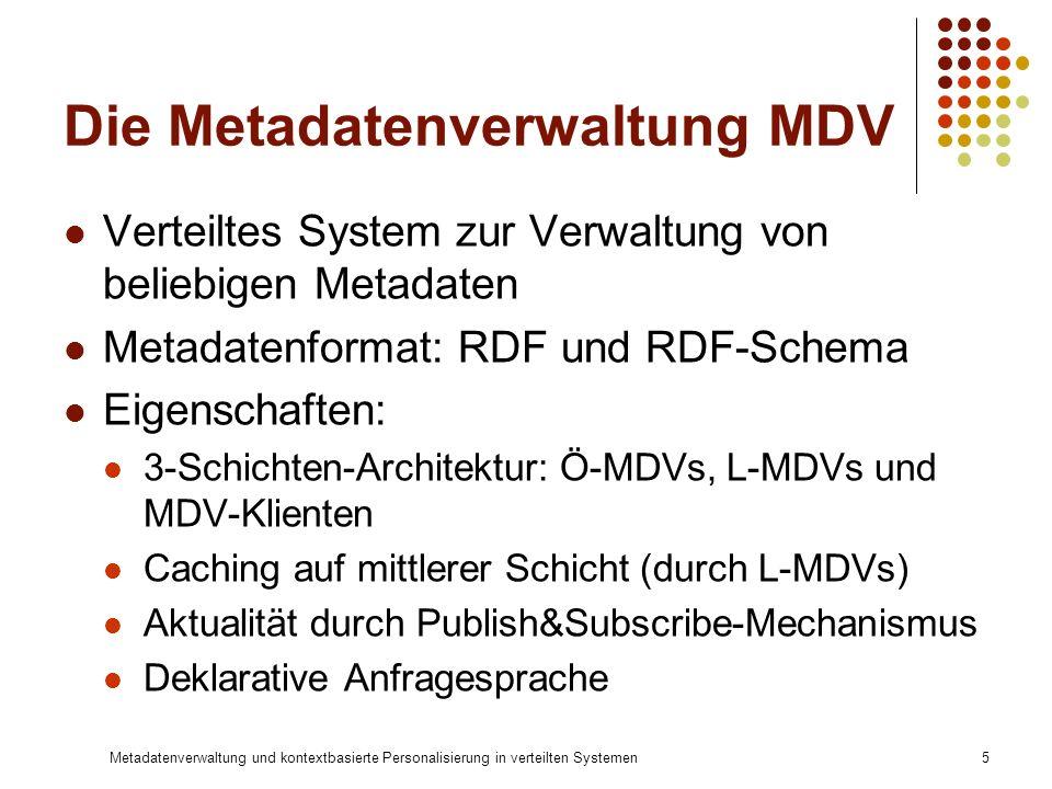 Metadatenverwaltung und kontextbasierte Personalisierung in verteilten Systemen5 Die Metadatenverwaltung MDV Verteiltes System zur Verwaltung von beli