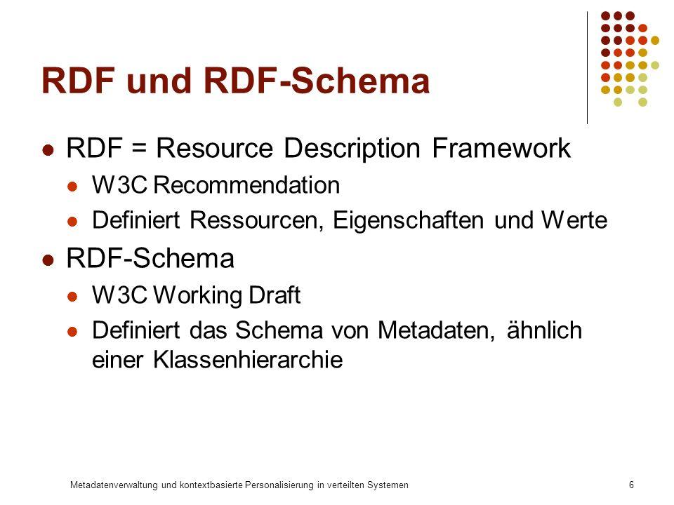 Metadatenverwaltung und kontextbasierte Personalisierung in verteilten Systemen6 RDF und RDF-Schema RDF = Resource Description Framework W3C Recommend