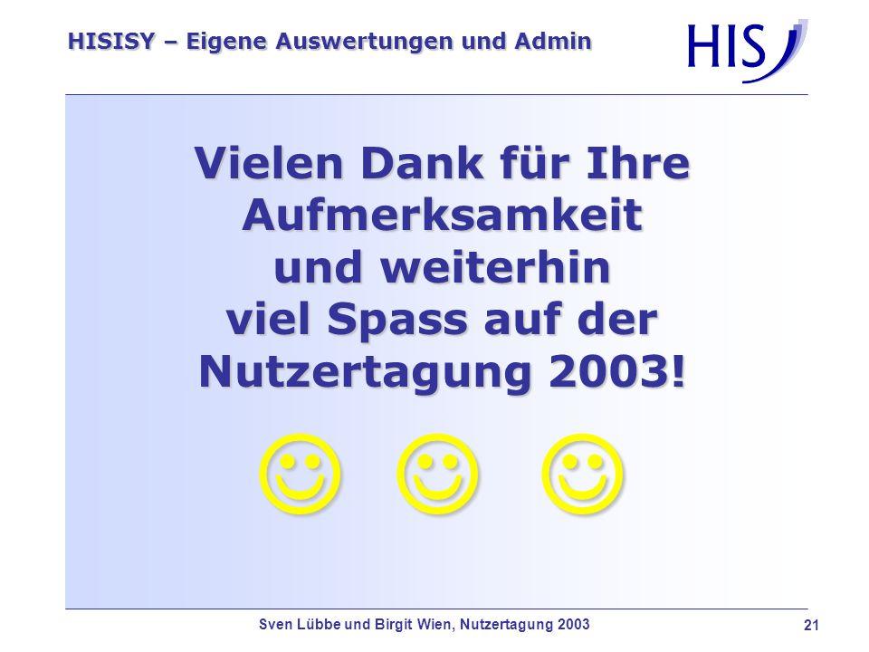 Sven Lübbe und Birgit Wien, Nutzertagung 2003 21 HISISY – Eigene Auswertungen und Admin Vielen Dank für Ihre Aufmerksamkeit und weiterhin viel Spass a