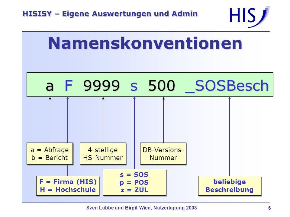 Sven Lübbe und Birgit Wien, Nutzertagung 2003 7 HISISY – Eigene Auswertungen und Admin Auftragserstellung Standard-AuftragEin Standard-Auftrag besteht grundsätzlich aus Abfrage Bericht Selektionsmaske evtl.