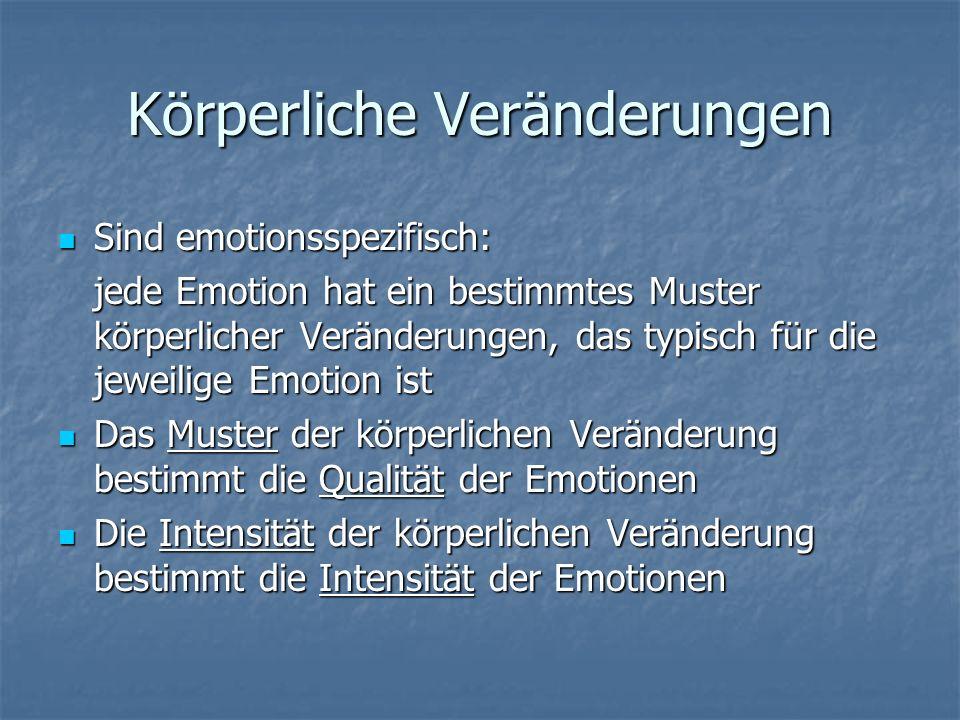 Körperliche Veränderungen Sind emotionsspezifisch: Sind emotionsspezifisch: jede Emotion hat ein bestimmtes Muster körperlicher Veränderungen, das typ