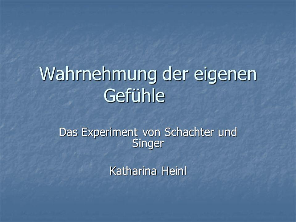 Wahrnehmung der eigenen Gefühle Das Experiment von Schachter und Singer Katharina Heinl