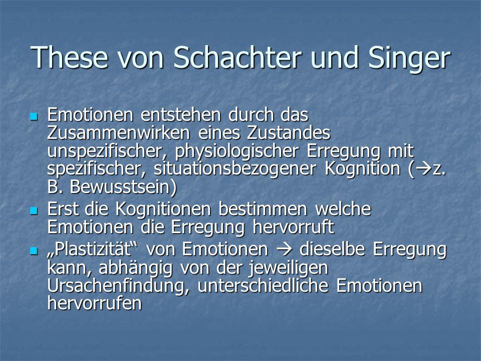 These von Schachter und Singer Emotionen entstehen durch das Zusammenwirken eines Zustandes unspezifischer, physiologischer Erregung mit spezifischer,