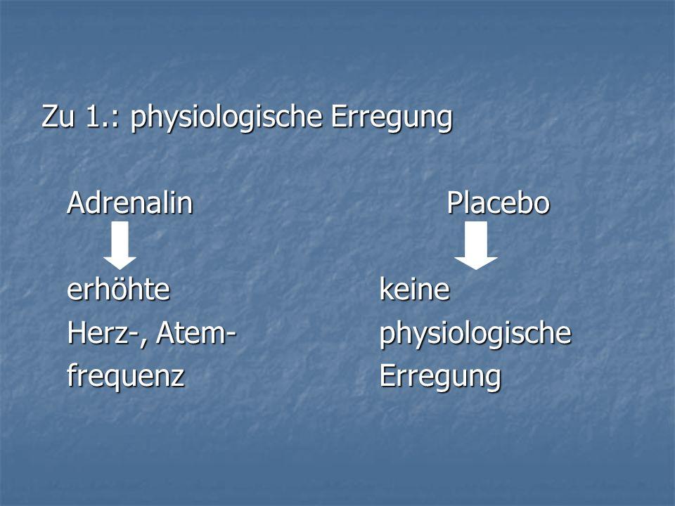 Zu 1.: physiologische Erregung AdrenalinPlacebo erhöhte keine Herz-, Atem-physiologische frequenzErregung