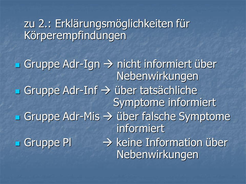 zu 2.: Erklärungsmöglichkeiten für Körperempfindungen Gruppe Adr-Ign nicht informiert über Nebenwirkungen Gruppe Adr-Ign nicht informiert über Nebenwi