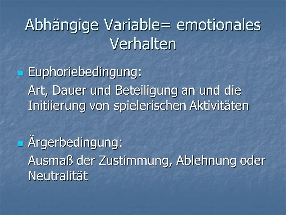 Abhängige Variable= emotionales Verhalten Euphoriebedingung: Euphoriebedingung: Art, Dauer und Beteiligung an und die Initiierung von spielerischen Ak
