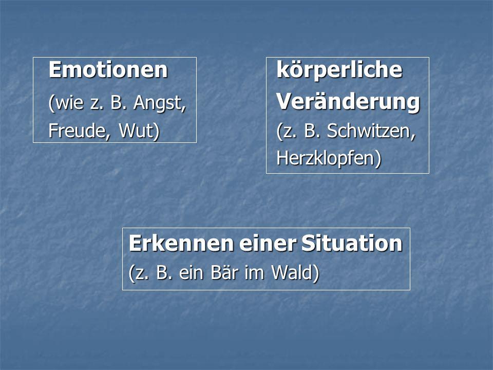 Emotionen körperliche (wie z. B. Angst, Veränderung Freude, Wut)(z. B. Schwitzen, Herzklopfen) Erkennen einer Situation (z. B. ein Bär im Wald)