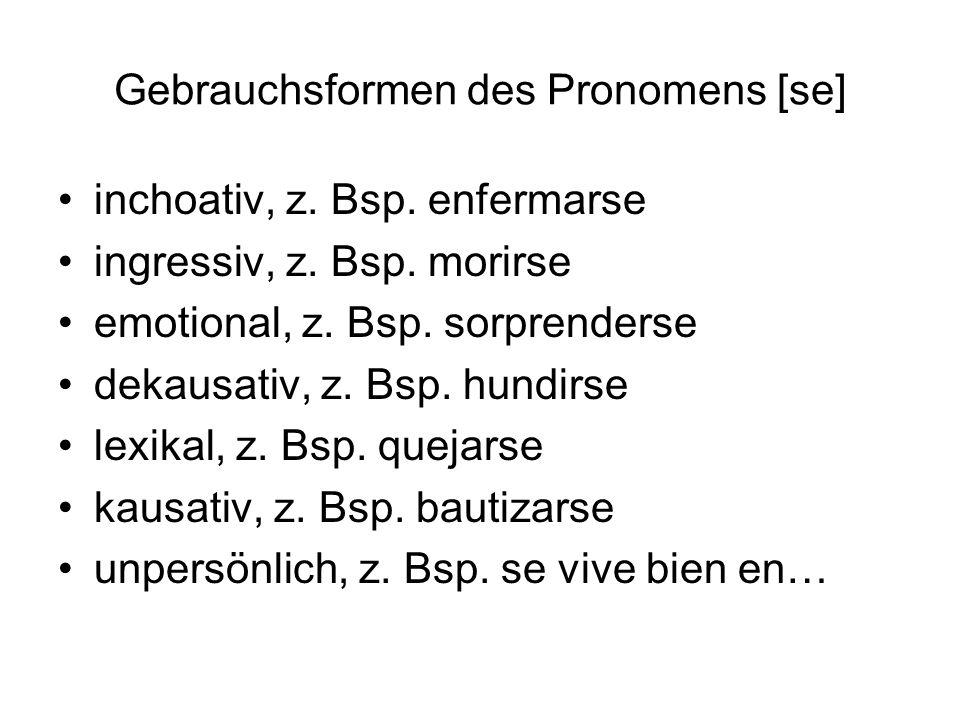 Gebrauchsformen des Pronomens [se] inchoativ, z. Bsp.