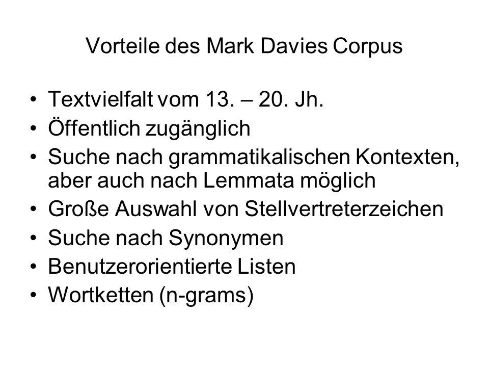 Vorteile des Mark Davies Corpus Textvielfalt vom 13.