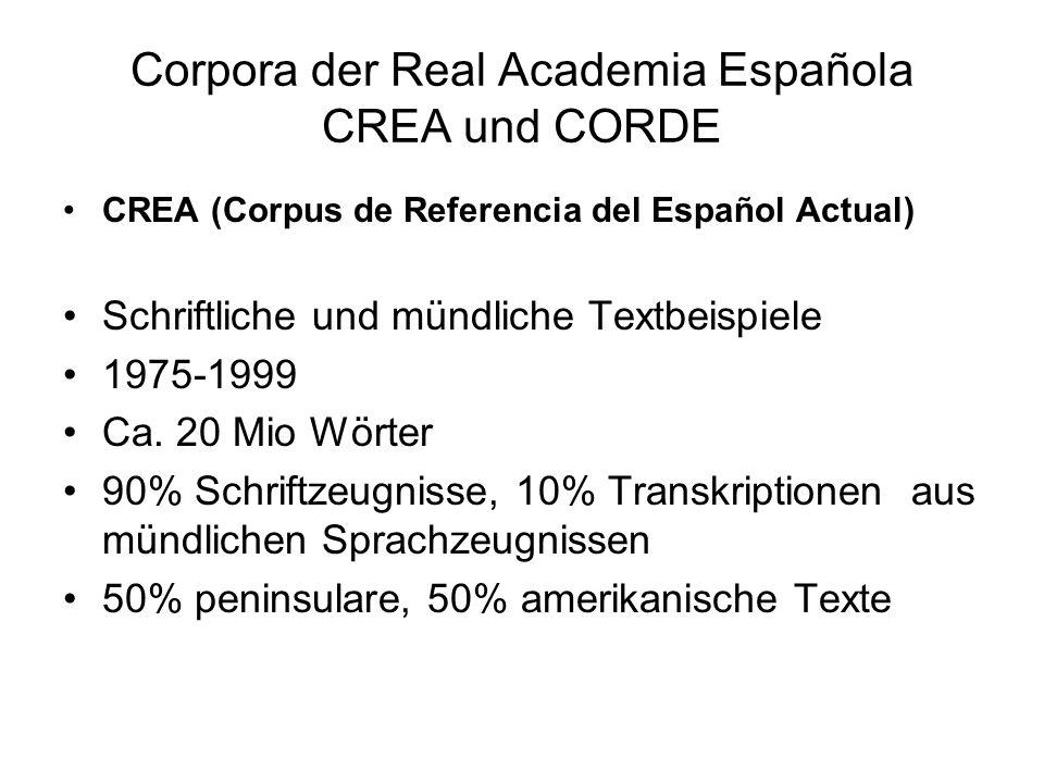 Corpora der Real Academia Española CREA und CORDE CREA (Corpus de Referencia del Español Actual) Schriftliche und mündliche Textbeispiele 1975-1999 Ca.
