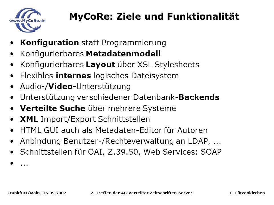 Frankfurt/Main, 26.09.2002 2. Treffen der AG Verteilter Zeitschriften-Server F. Lützenkirchen Konfiguration statt Programmierung Konfigurierbares Meta