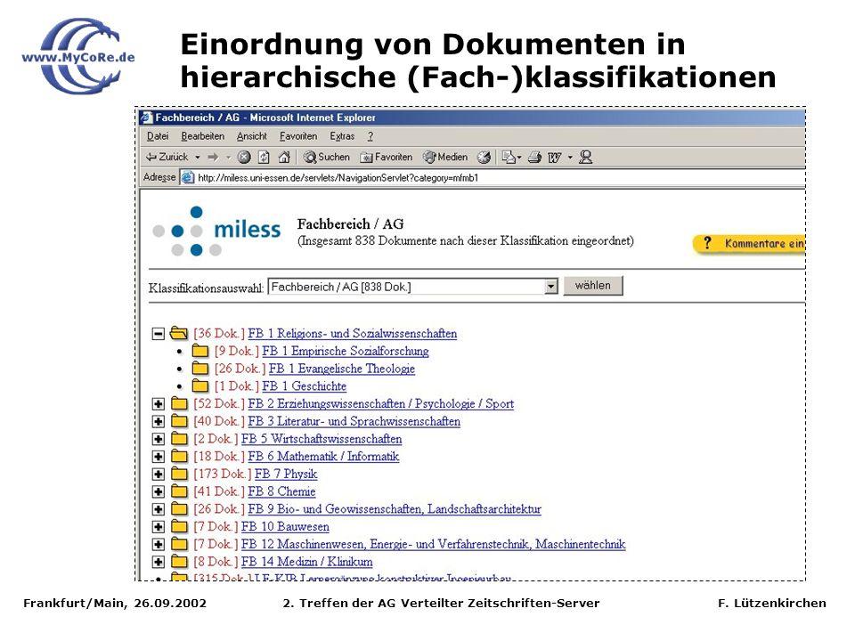 Frankfurt/Main, 26.09.2002 2. Treffen der AG Verteilter Zeitschriften-Server F. Lützenkirchen Einordnung von Dokumenten in hierarchische (Fach-)klassi