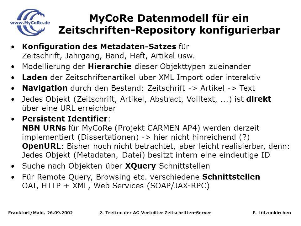 Frankfurt/Main, 26.09.2002 2. Treffen der AG Verteilter Zeitschriften-Server F. Lützenkirchen MyCoRe Datenmodell für ein Zeitschriften-Repository konf