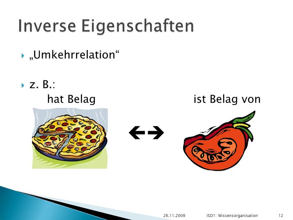 Umkehrrelation z. B.: hat Belag ist Belag von 26.11.2009 12 ISD1: Wissensorganisation