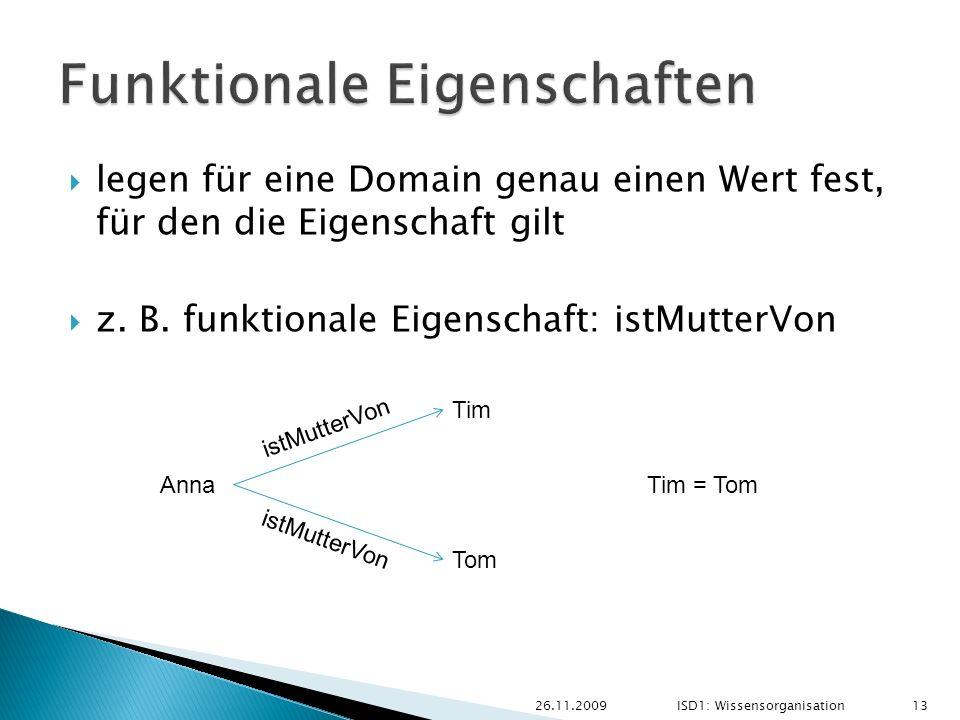 legen für eine Domain genau einen Wert fest, für den die Eigenschaft gilt z. B. funktionale Eigenschaft: istMutterVon 26.11.2009ISD1: Wissensorganisat