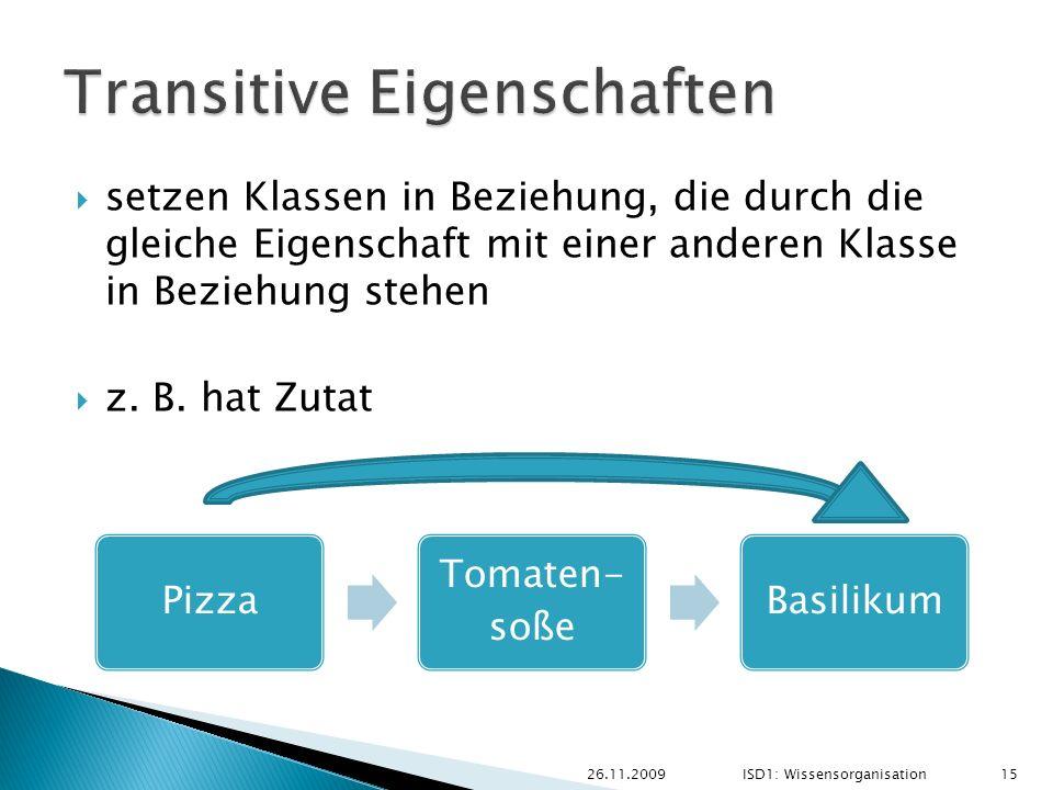Pizza Tomaten- soße Basilikum 26.11.2009ISD1: Wissensorganisation 15 setzen Klassen in Beziehung, die durch die gleiche Eigenschaft mit einer anderen