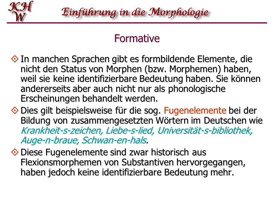 Formative In manchen Sprachen gibt es formbildende Elemente, die nicht den Status von Morphen (bzw. Morphemen) haben, weil sie keine identifizierbare
