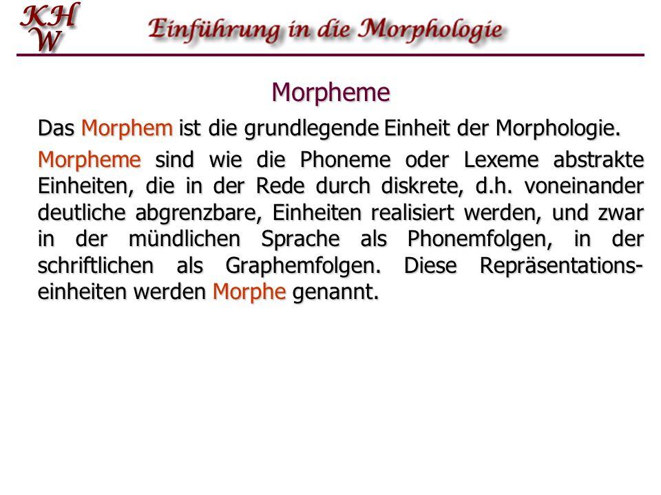 Morpheme Das Morphem ist die grundlegende Einheit der Morphologie. Morpheme sind wie die Phoneme oder Lexeme abstrakte Einheiten, die in der Rede durc