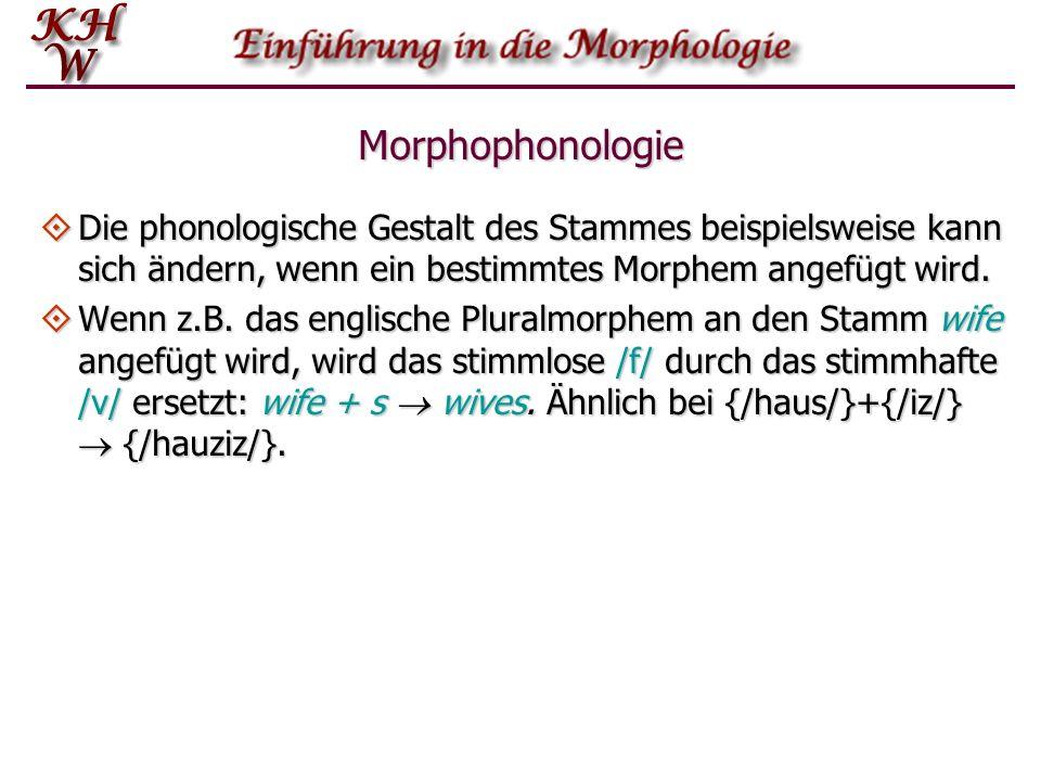 Morphophonologie Die phonologische Gestalt des Stammes beispielsweise kann sich ändern, wenn ein bestimmtes Morphem angefügt wird. Die phonologische G