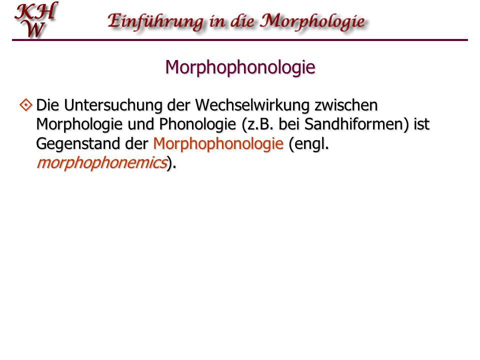 Morphophonologie Die Untersuchung der Wechselwirkung zwischen Morphologie und Phonologie (z.B. bei Sandhiformen) ist Gegenstand der Morphophonologie (