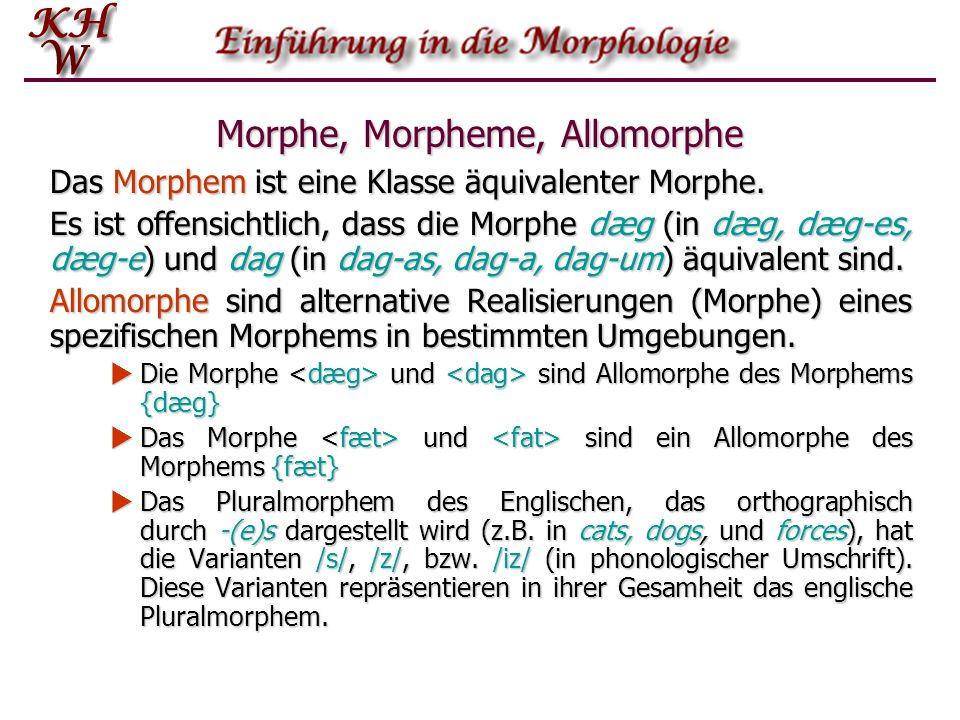 Morphe, Morpheme, Allomorphe Das Morphem ist eine Klasse äquivalenter Morphe. Es ist offensichtlich, dass die Morphe dæg (in dæg, dæg-es, dæg-e) und d