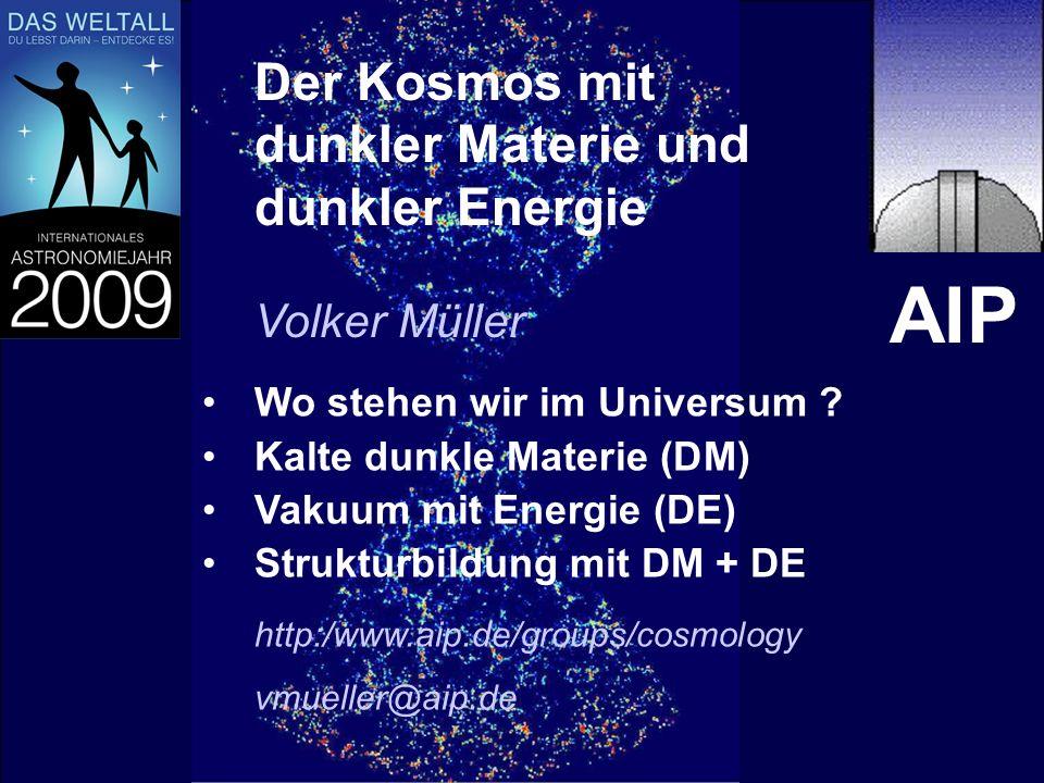 1 Der Kosmos mit dunkler Materie und dunkler Energie Wo stehen wir im Universum ? Kalte dunkle Materie (DM) Vakuum mit Energie (DE) Strukturbildung mi