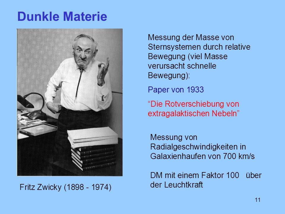 11 Fritz Zwicky (1898 - 1974) Messung der Masse von Sternsystemen durch relative Bewegung (viel Masse verursacht schnelle Bewegung): Paper von 1933 Di