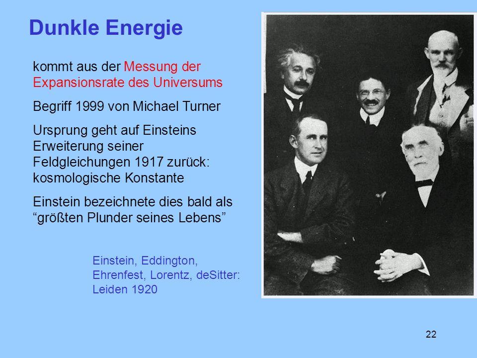 22 kommt aus der Messung der Expansionsrate des Universums Begriff 1999 von Michael Turner Ursprung geht auf Einsteins Erweiterung seiner Feldgleichun