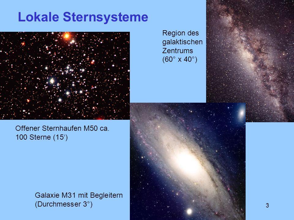 3 Offener Sternhaufen M50 ca. 100 Sterne (15) Galaxie M31 mit Begleitern (Durchmesser 3°) Region des galaktischen Zentrums (60° x 40°) Lokale Sternsys