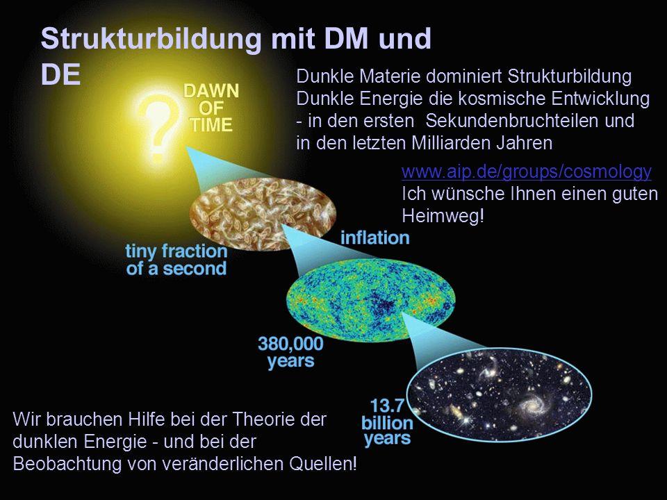 54 Dunkle Materie dominiert Strukturbildung Dunkle Energie die kosmische Entwicklung - in den ersten Sekundenbruchteilen und in den letzten Milliarden